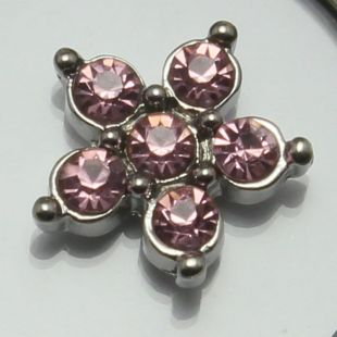Charm ster strass roze groot
