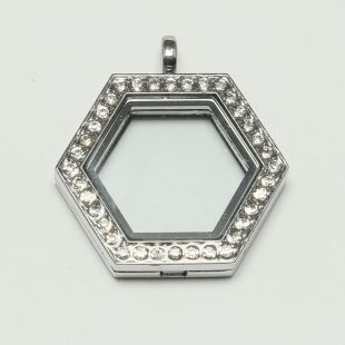KOOPJE floating locket 6 kantig strass