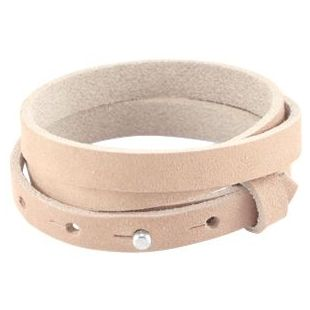 LC armbanden leer 10mm triple Natural ecru beige