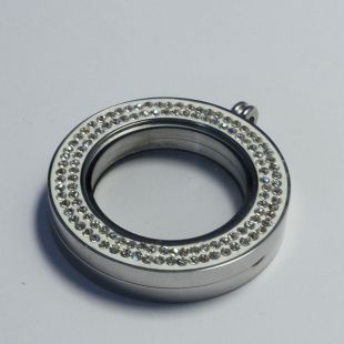 Memoria Locker - Dubbel strass 33 mm - RVS