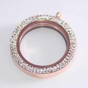 Memoria Locker - Dubbel strass Rosegold 34 mm - RVS